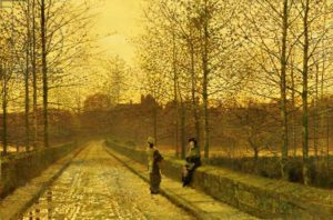 """In the Golden Gloaming"" (1883) by s) by John Atkinson Grimshaw"