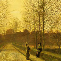"""In the Golden Gloaming"" (1883) by John Atkinson Grimshaw"