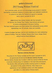 artsrichmond Young Writers Festival 2014/15