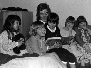 Enjoying a bedtime story at the Royal Victoria School for the Blind, Newcastle upon Tyne, 1982