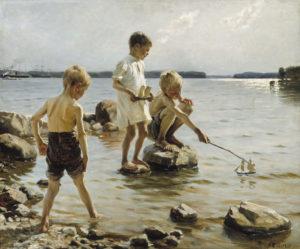 "Albert Edelfelt ""Boys Playing on the Shore"""