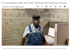 """WBHM A Conversation with """"Mr. Fred,"""" 86-Year-Old Learning to Read"""