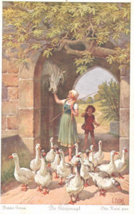 "Illustration for Grimms Fairy Tale""Die Gänsemagd"" (The Goose Girl) by Otto Kubel"