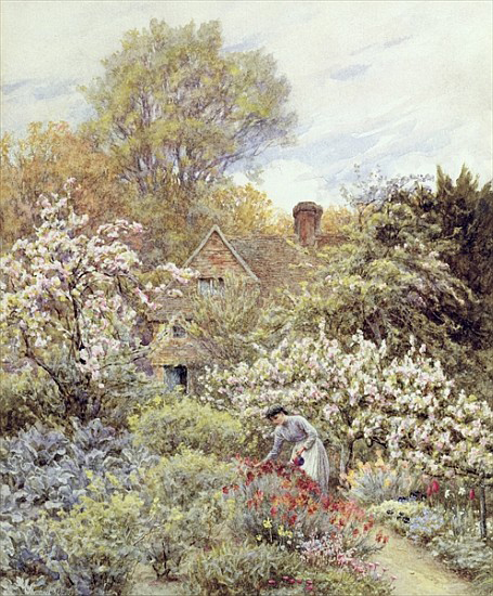 """A Garden in Spring"" by Helen Allingham"