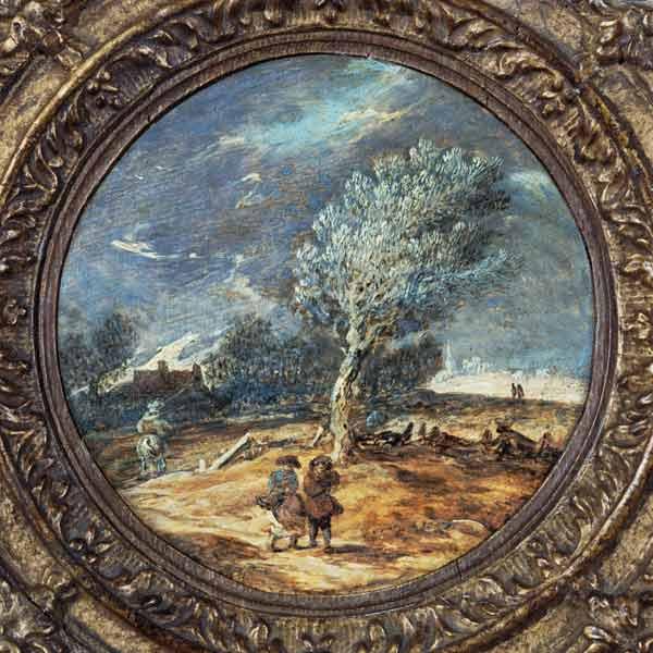 Figures crossing a heath with a brisk wind blowing - Jan van Goyen